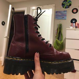 cherry red jadon dr marten platform boots